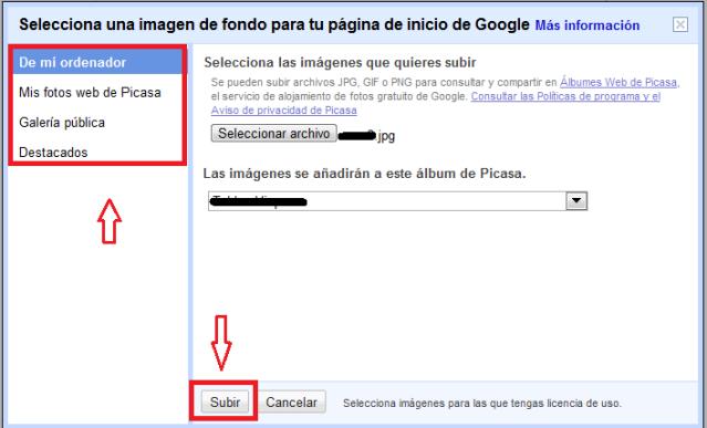 Guia para cambiar la imagen de fondo de Google