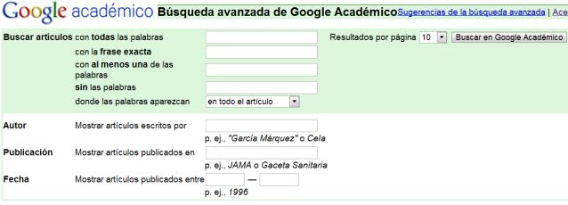 Opciones de Google académico